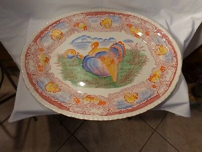 9 Pc Staffordshire England 6363 Hp Thanksgiving Turkey Platter Dinner Plates- Nr