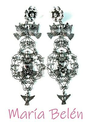 Maria Belen~Ornate~Well Made~Filigree Dove/Floral/Heart~ 925 Mexican Earrings~4""
