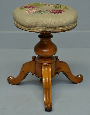 Pretty Victorian Walnut Adjustable Piano Stool