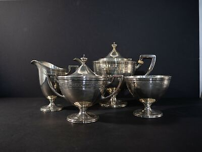 Tiffany & Co. Heavily detailed 4pc tea set in sterling silver c.1913