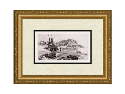 """Famous Original 1800s Stephen PARRISH Etching """"Hastings Beach"""" SIGNED Framed COA"""