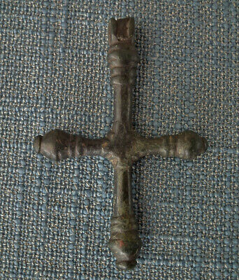 Ancient Byzantine Large Bronze Pendant Cross 6th-10th Century A.D.