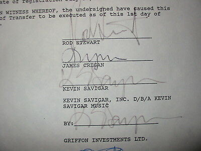 Rare Rod Stewart Autograph Forever Young Contract Plus Bonus Items