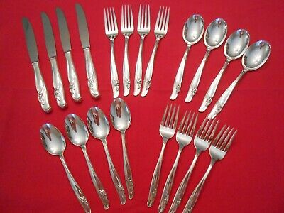20 Pc 1957 Wm Rogers IS EXQUISITE Silverplate Flatware Service for 4 ~ BEAUTIFUL