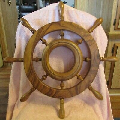 Wheel Wooden Steering Nautical Vintage Boat Ship Collectible Decor WALNUT
