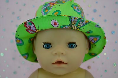 """Play n Wear Doll Clothes To Fit 17"""" Baby Born LIME/BUTTERFLY DRILL SUN HAT"""