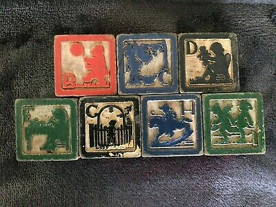 7 ANTIQUE WOODEN ALPHABET BLOCK RARE- EARLY 1900's- PICS #'S CHARACTERS PUZZLES