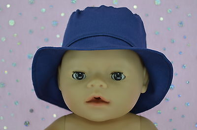 """Play n Wear Doll Clothes To Fit 17"""" Baby Born NAVY DRILL SUN HAT"""