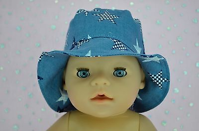 """Play n Wear Doll Clothes To Fit 17"""" Baby Born DENIM/STAR DRILL SUN HAT"""