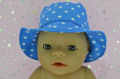 """Play n Wear Doll Clothes To Fit 17"""" Baby Born BLUE/STAR DRILL SUN HAT"""