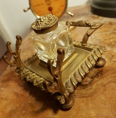 An Exquisite Early 20th Century Brass & Bronze Stand Crystal Cut Bottle Inkwell?