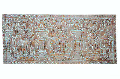 Vintage BLUE Carved WOOD ECLECTIC QUEEN Headboard Kamasutra WALL CARVING 72
