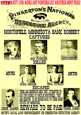 Old West Wanted Posters Outlaw Younger Bank Reward Train Robbery Jesse Western