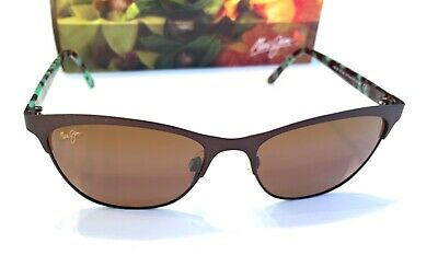 e5c08f3cf7 NEW Maui Jim Popoki H729-01S Chocolate Polarized Sunglasses Cat eye women s