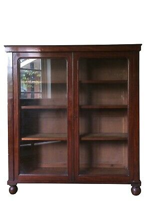 Large Antique Victorian Mahogany Display China Bookcase Kitchen Glazed Cabinet