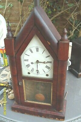Mantel Clock Steeple Clock For Repair  Complete Key Pendulum