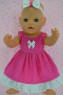 "Play n Wear Doll Clothes To Fit 17"" Baby Born  HOT PINK POLKA DOT DRESS~HEADBAND"