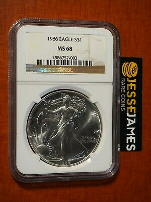 1986 $1 American Silver Eagle Ngc Ms68 Classic Brown Label