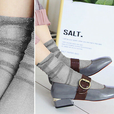 3PC Grey Sheer Glitter Ultra Thin Soft Long Ankle High Anklet Sock Retro Lolita