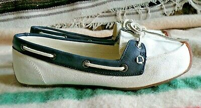 d0b6517de69 NEW KEEN Catalina Canvas/Leather Boat Shoe White Blue Canvas sz 9 Slip On