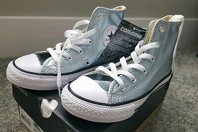 59e34e4f5a88 Girls Converse All Star Size 13 High Top Shoes Metallic Glacie Shiny Light  Blue