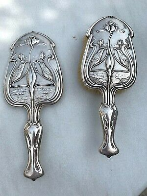 Antique Art Nouveau English Hallmarked Sterling Silver Mirror & Brush