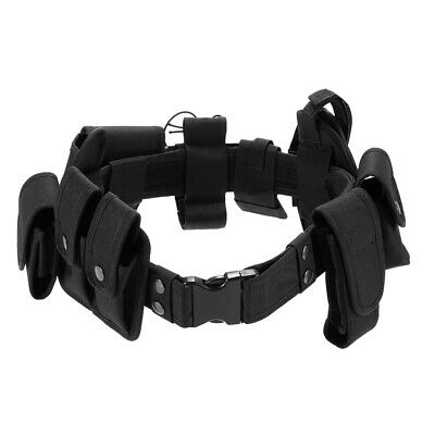 Unisex Tactical Security Guard Utility Kit Belt with Pouches Holster Black S9L1