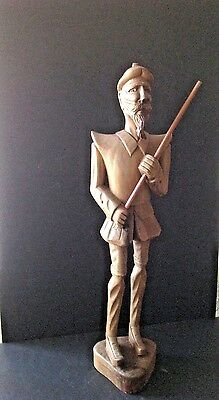 "Vintage Hand Carved Spain Wooden 23"" Tall Don Quixote/Quijote Sculpture Figurine"