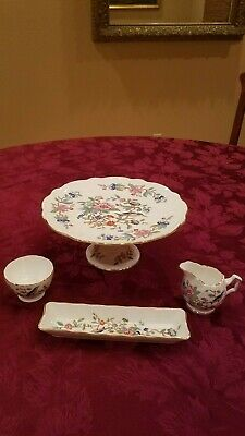 """Aynsley Pembroke 4-1/2"""" Footed Cake Plate, Mini Sugar And Creamer + Tray-Mint"""