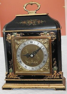 Antique Elliott London Chinoiserie Bracket Clock Hand Painted Black & Gold Works