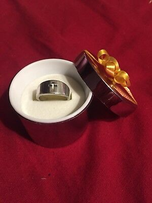 James Avery Sterling Silver Ring Thin Band Size 5 Cut Out Cross Open Unisex