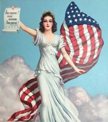 Vtg Original Pin-up Girl Lady Liberty Our Country Right or Wrong 1940 Lithograph