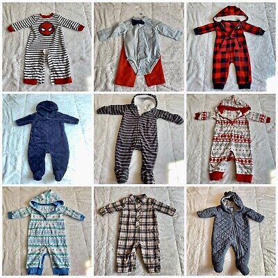 BABY BOY LOT OF WINTER CLOTHES 18 PIECES 6-12 MONTHS Long Sleeve Outfits