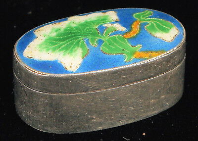 Antique Small Sterling Silver Snuff Pill Box W Fabulous Enamel Floral Design