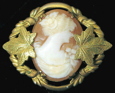 Antique Carved Cameo Shell In Ornate Leaf Gold Gilt Brass Brooch Victorian Woman