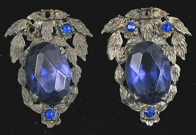 Vintage Art Nouveau Shoe Clips Big Blue Rhinestones W Accents Ornate Leaf Clips