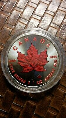 2016 1Oz Ounce Canadian Silver Red Maple Leaf Colorized Coin 9999 Silver