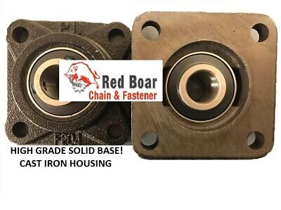 "UCF-205-16 1"" 4 Bolt Flange Bearing Solid Cast Iron Black Housing Qty 2"