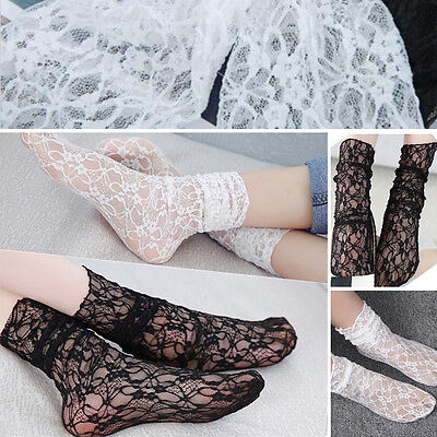 3 Pairs Black or White Floral Sheer Lace Thin Soft Ankle High Anklet Sock Retro