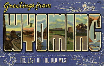 Greetings from WYOMING ~ Large Letter Linen 1940s ~ covered wagon cattle
