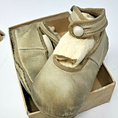 Antique Leather Baby Shoes Button Up with Socks and Box