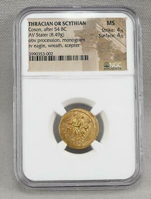 Ngc Graded Ms Ancient Thracian Scythian Coson, Aft 54 Bc, Gold Stater 4/5, 4/5