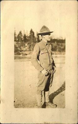 WWI era US Army soldier in uniform~ RPPC real photo postcard