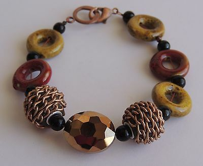 Copper Faceted Gold Autumn Red Green Enamel Painted Beaded Link Bracelet