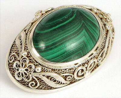 "Antique Chinois Export Argent Fin Filigrane Malachite Broche 1.5 "" Wow"