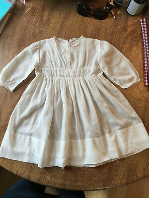 Vtg Victorian Childs Dress Insert Lace Crewel Cotton Lawn Bobbin Lace Hand-Sewn