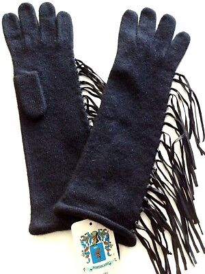 "Portolano Women Ladies Long 13"" Gloves with Leather Fringes Black"