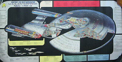 "1991 STAR TREK U.S.S. Enterprise NCC-1701-D Poster Next Generation 48"" x 26"""