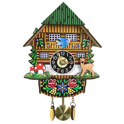 Wooden Cuckoo Wall Clock Swinging Pendulum Traditional Wood Hanging Crafts Q3U2