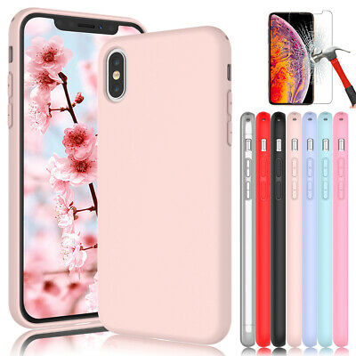 For iPhone XS Max XR X XS Liquid Silicone Phone Case Cover with Screen Protector